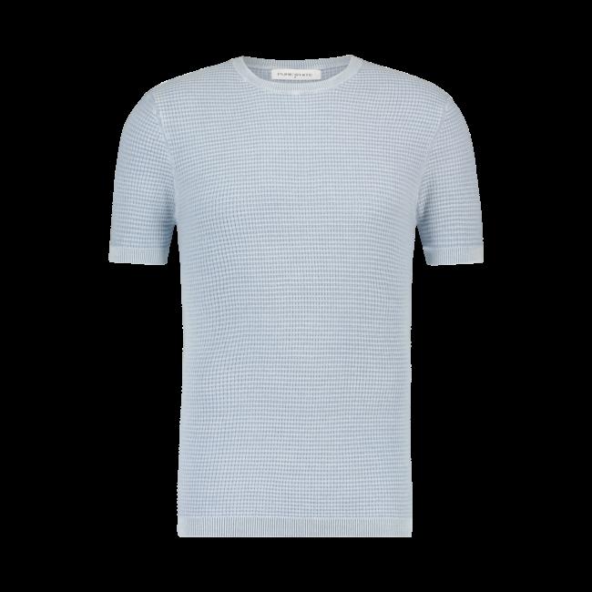 Pure White Waffle Knit T-shirt BLUE