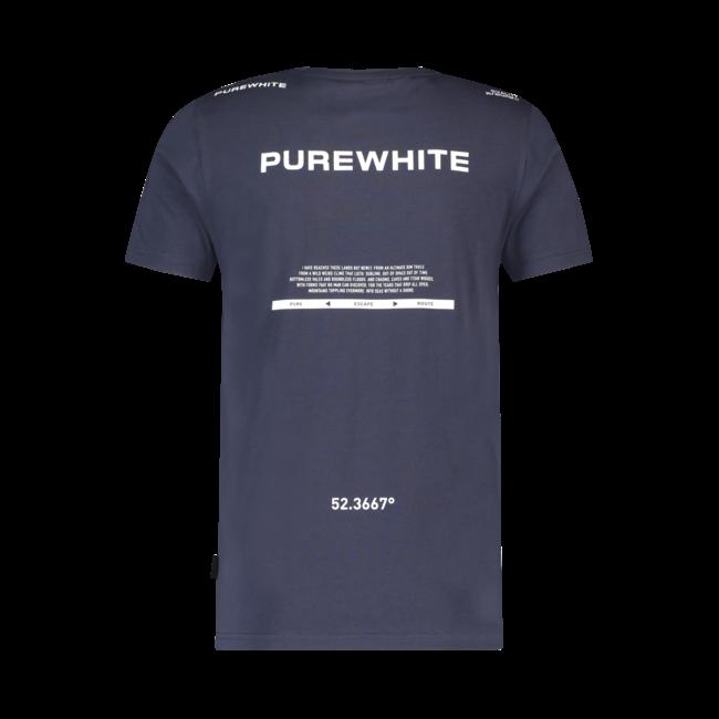 Pure White Triangle Print T-shirt Navy