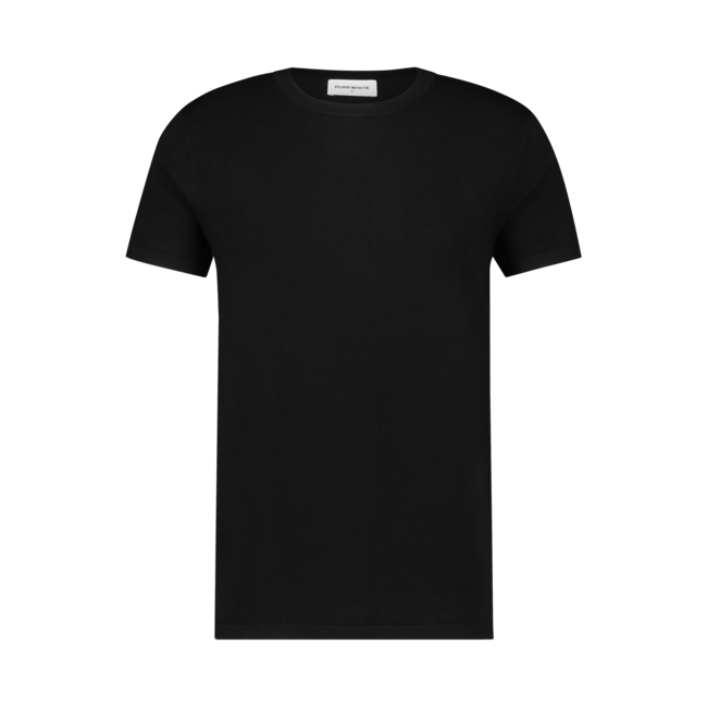 Pure White Knitted T-shirt Black