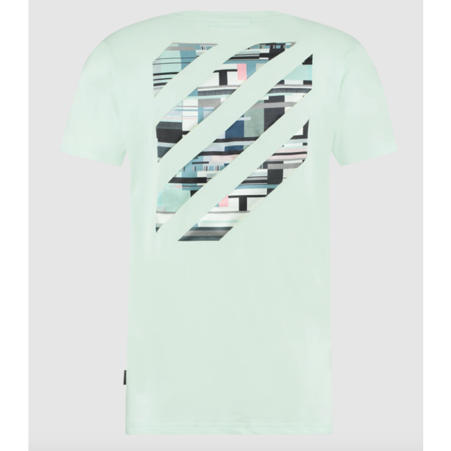 Pure White PW T-shirt Stitching Logo 21010140 Aqua