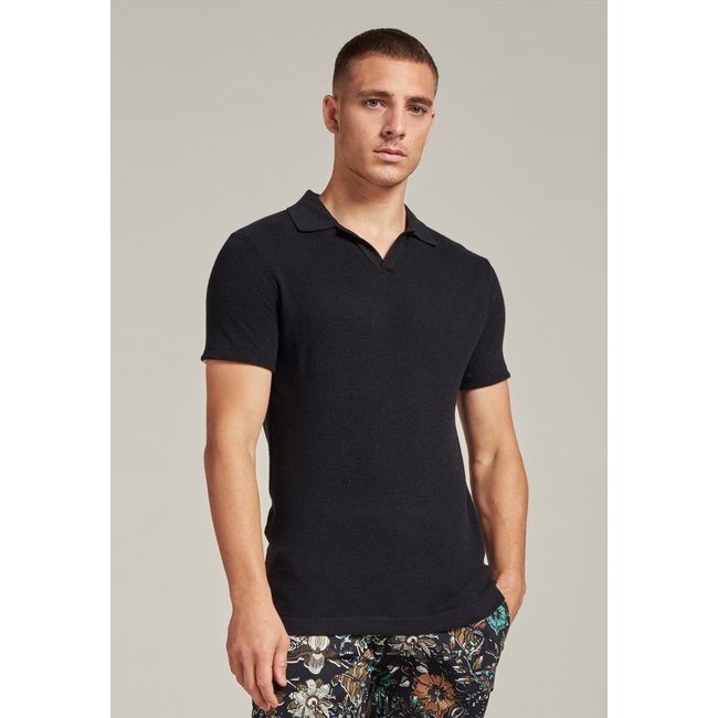 Dstrezzed POLO KNITTED 405376 S/S BLACK