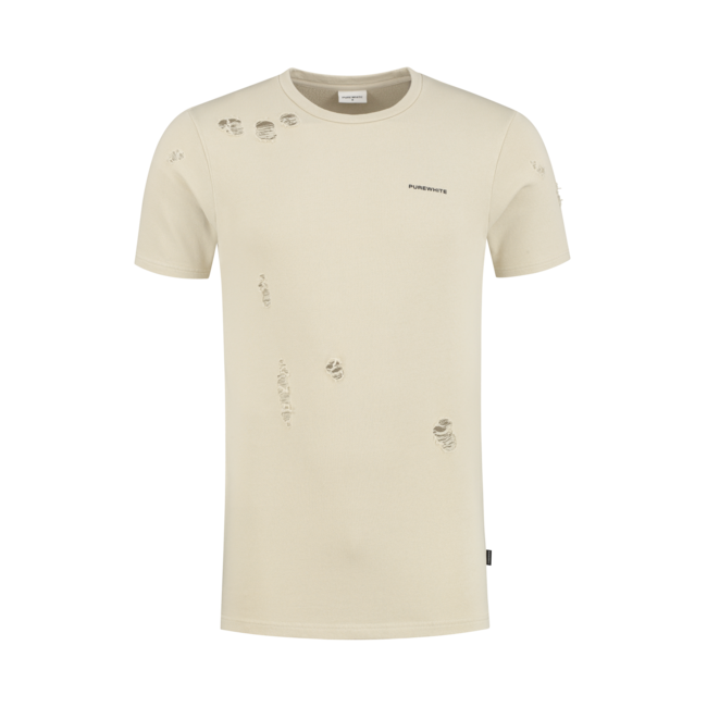 Pure White PW T-shirt Destroyed 21010123 Sand