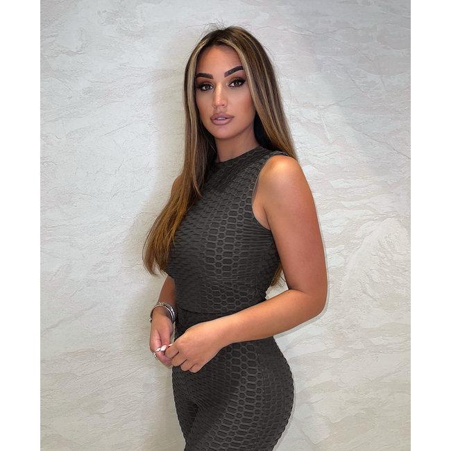 Unique the Label Olivia Crop Top Dark Grey