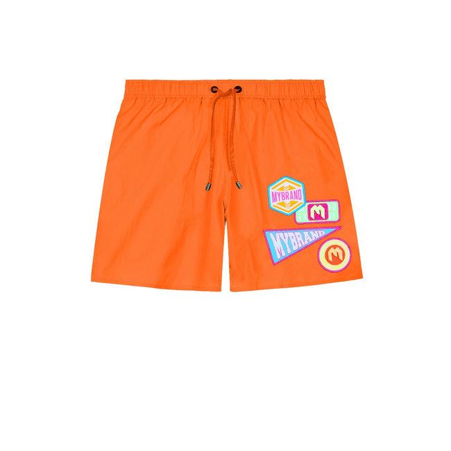 My Brand MB Badges Swimshort Neon Orange
