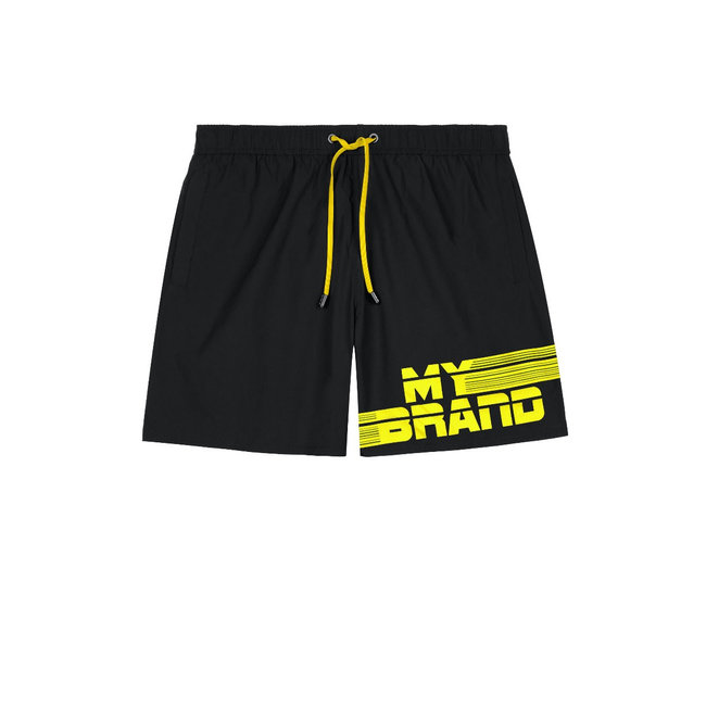 My Brand MB Stripes Swimshort Black/Neon Yellow