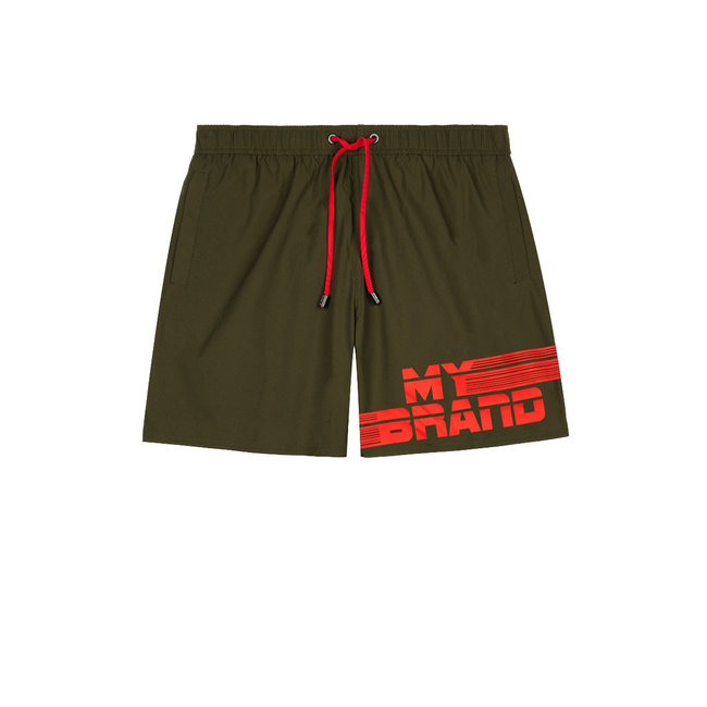 My Brand MB Stripes Swimshort Army/Red