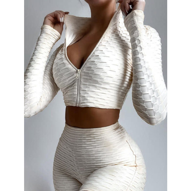 Unique the Label Olivia Zip Longsleeve Top White