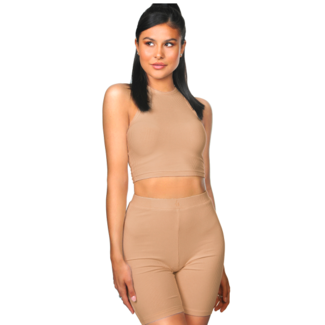 L.A Sisters Ribbed Cycling Top Nude