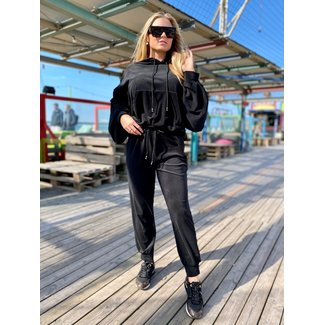 MOMO Fashion JOGGING SUIT ROMA BLACK 2-PIECE (ONE SIZE)