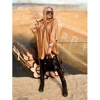 MOMO Fashion BLOUSE DRESS SIENNA COGNAC (ONE SIZE)