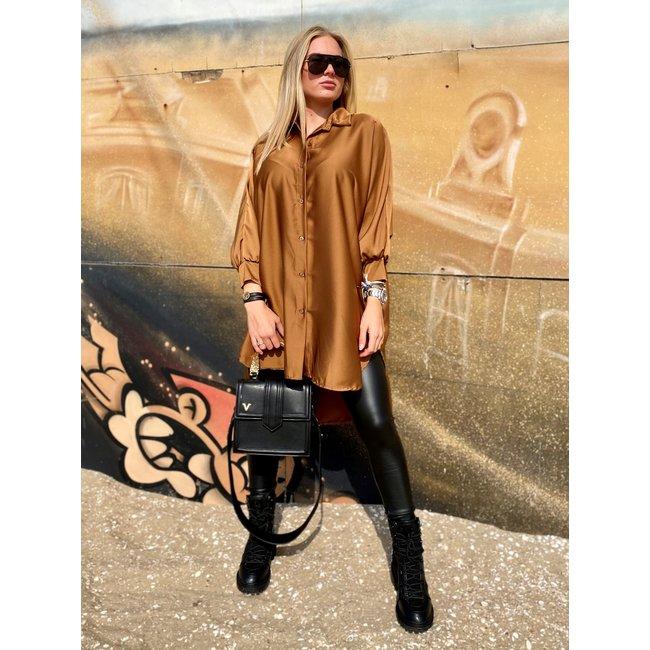 MOMO Fashion BLOUSE DRESS SIENNA BROWN (ONE SIZE)