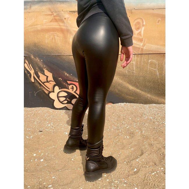 MOMO Fashion VEGAN LEATHER PANTS BARI BLACK