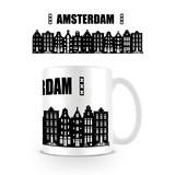 Amsterdam Grachtenpandjes Zwart-Wit Mok