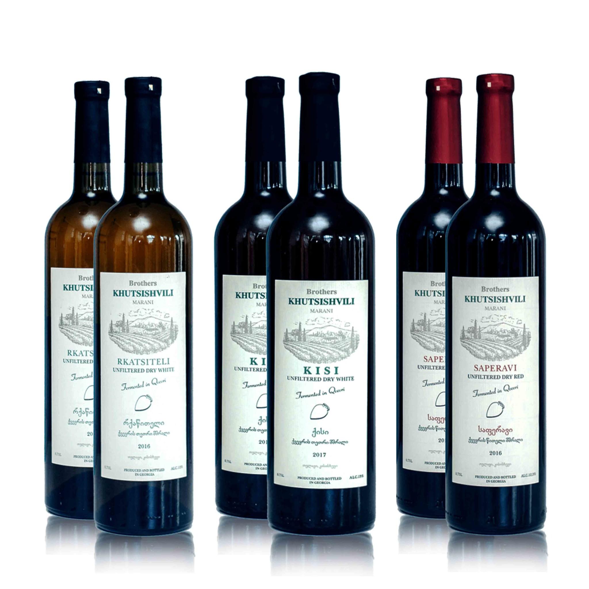 Wijn proefpakket Khutsishvilli Amber en Rood (6x)