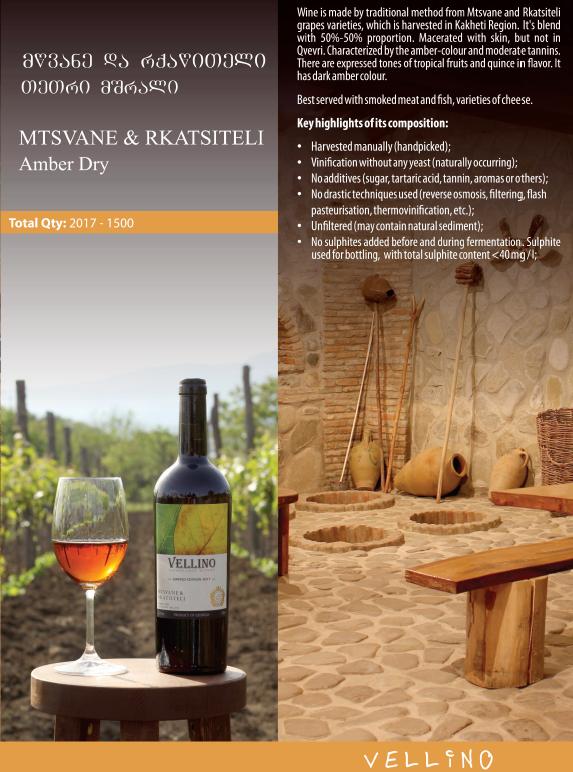 Merk Vellino Vellino Mstvane-Rkatsiteli Amber droog wijn