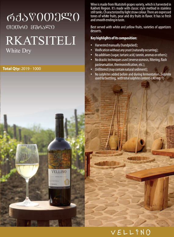 Merk Vellino Rkatsiteli Vellino Classic Half droge witte wijn 2019