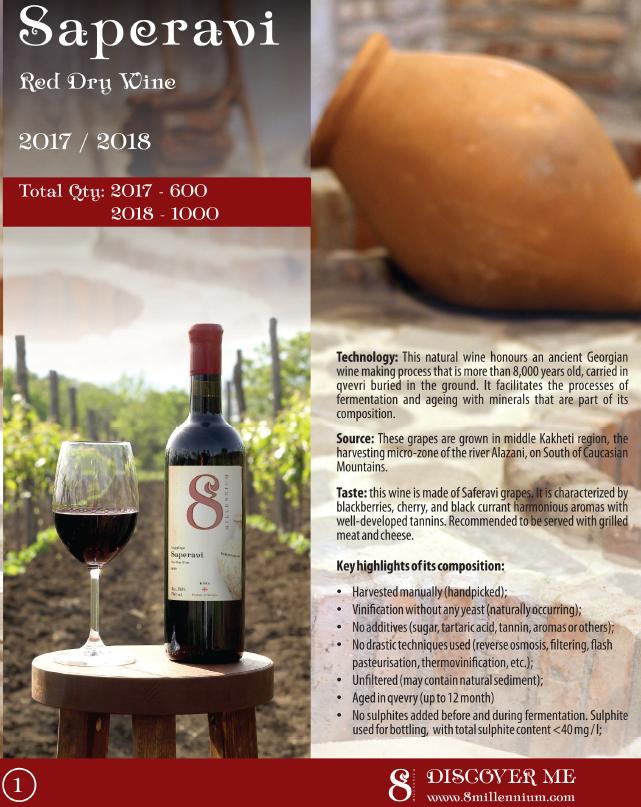 Merk  8millennium  Saperavi 8millennium 2018 [bio-dynamic], red dry wine