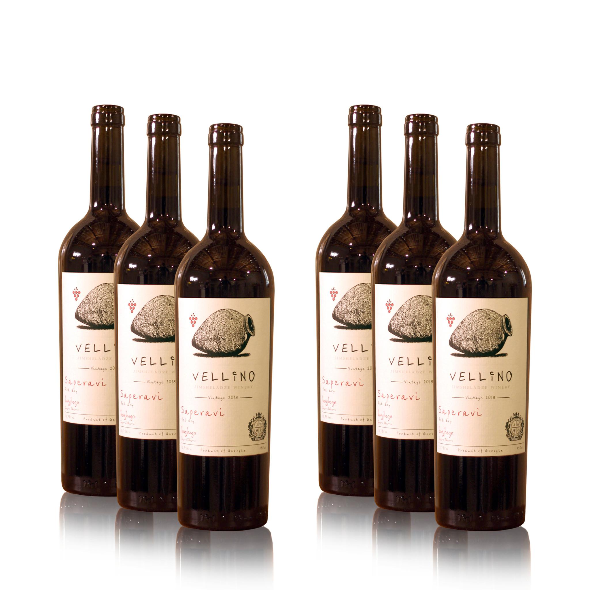 Merk Vellino Saperavi Vellino Qvevri 2018, rode droge wijnen (6x)
