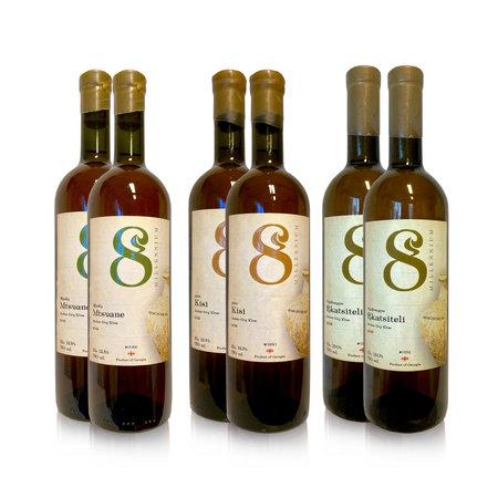 Merk  8millennium  Amber dry wine tasting package [Kisi, Mtsvane, Rkatsiteli 6x] 8millennium