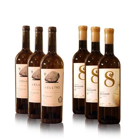 8millennium and Vellino Wijn proefpakket [Rkatsiteli, Mtsvane] droge Amber Qvevri wijnen (6x)