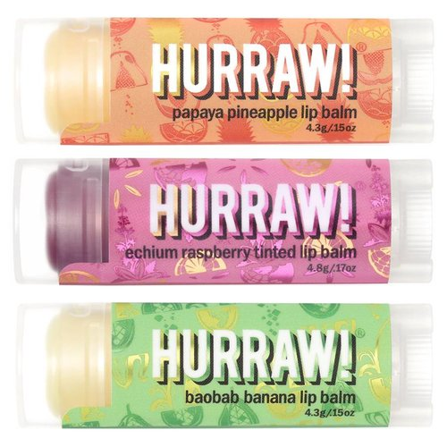 Hurraw! Tasty Fruit Lip Balm Voordeel Trio