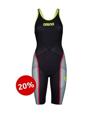 Arena Carbon Ultra Open Back Donkergrijs / Fluo-geel