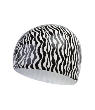 Speedo Slogan Printed Cap Zebra Zwart Wit