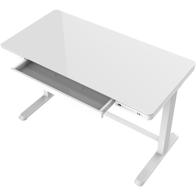 OVVIS Zit-sta bureau (thuis)werkplek - Wit met Glanzend blad