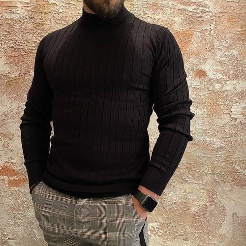 Purewhite Knitted Mockneck  Black