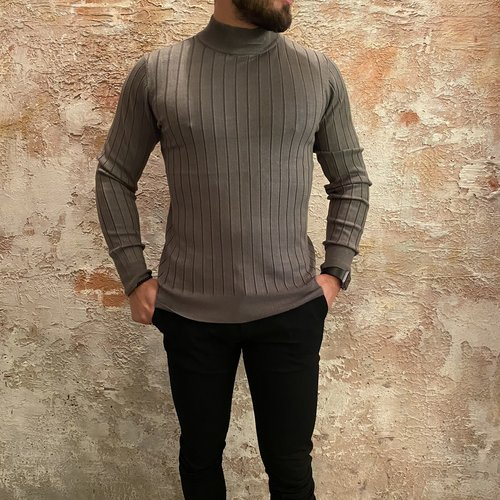 Purewhite Knitted Mockneck  Army
