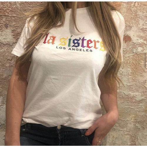 LA Sisters LA Sisters Rainbow T-shirt wit