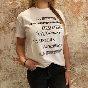 LA Sisters LA Multi logo tee white