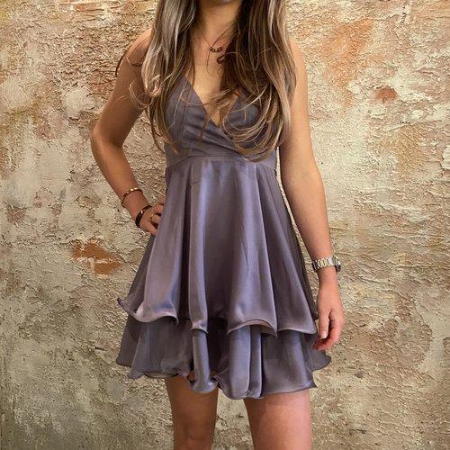 NAKD Overlap deep front mini dress purple
