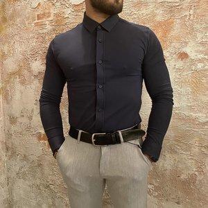 Purewhite Jersey Overhemd Blue