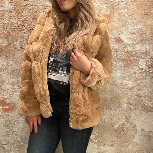 H2H Denim Oversized fake fur jasje camel