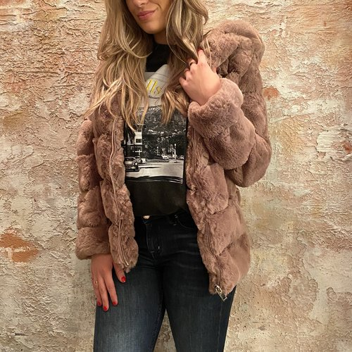 H2H Denim Oversized fake fur jasje roze