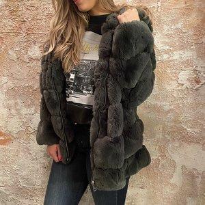 H2H Denim Oversized fake fur jasje groen