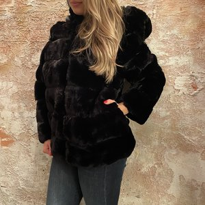 H2H Denim Oversized fake fur jasje zwart