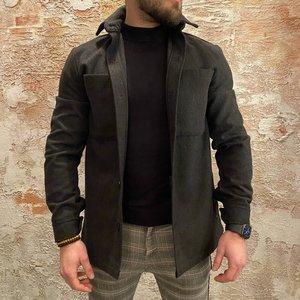 Solid Solid overshirt donker grijs
