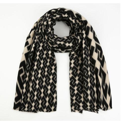 H2H Denim Sjaal met print zwart/beige