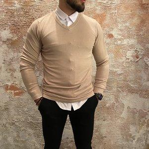 Purewhite v-neck pullover sand