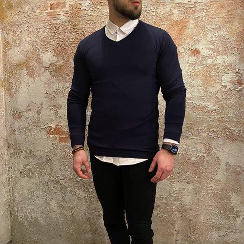 Purewhite Purewhite V-neck pullover blauw