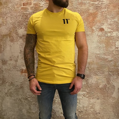 11 degrees Muscle fit t-shirt geel