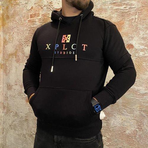 Xplct Rainbow hoodie zwart