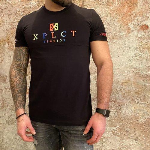 Xplct Rainbow tee zwart