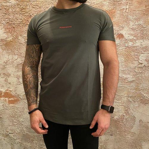Purewhite T-shirt rug print army green
