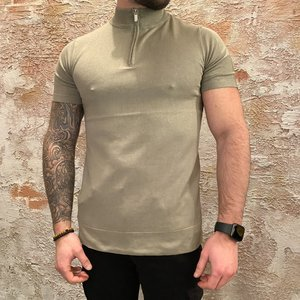 Purewhite Pullover Zip Korte Mouw Army