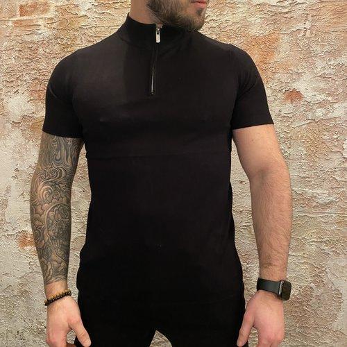 Purewhite Pullover Zip Korte Mouw Black