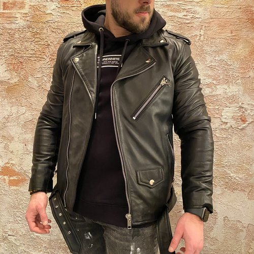 Purewhite Leather classic Biker jack