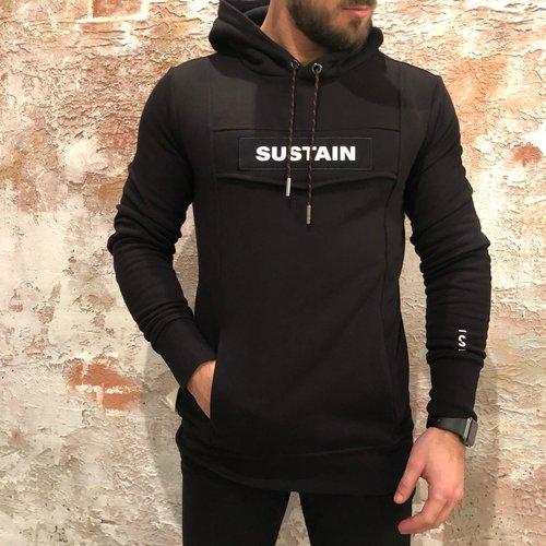 Sustain Logo Anorak hoodie Zwart